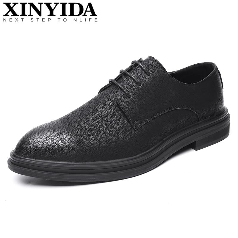 2019 chaud Vintage bout pointu hommes en cuir chaussures à lacets respirant décontracté affaires chaussures nouvelle mode hommes robe chaussures taille 38-44