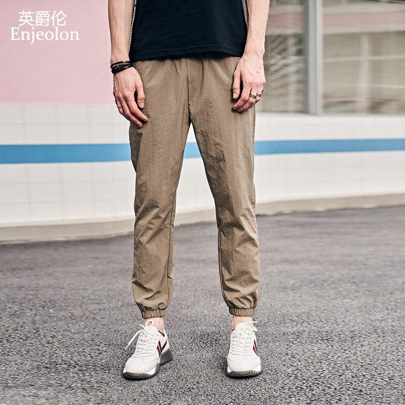 Enjeolon New Summer Sweatpants Men Solid Color Casual Pants Men Nylon Sweatpants For Men Fit Men Pants K6621
