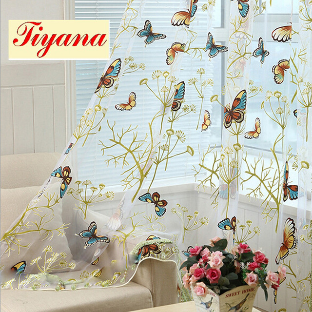 Curtains Ideas butterfly valance curtains : Modern decorative sheer art green butterfly pattern voile tulle ...