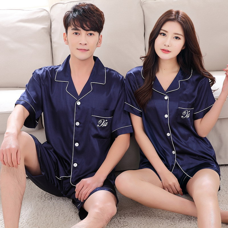 QWEEK 2019 Korean Version Short Sleeve Silk Couple   Pajamas   Cardigan Women Nightgown Summer Homewear Two Piece Couple Pyjamas   Set