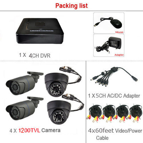 Security CCTV 4CH 1080N DVR 720P AHD 1200TVL Camera IR 24LED 3.6mm Lens Home Video Surveillanc DVR System