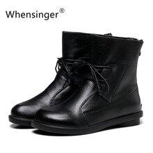 Whensinger-mujer botas zapatos hechos a mano de la vendimia genuina de cuero de tacón bajo x1503