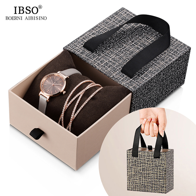 IBSO Crystal Bracelet Watches Set Female High Quality Quartz Watch Luxury Women