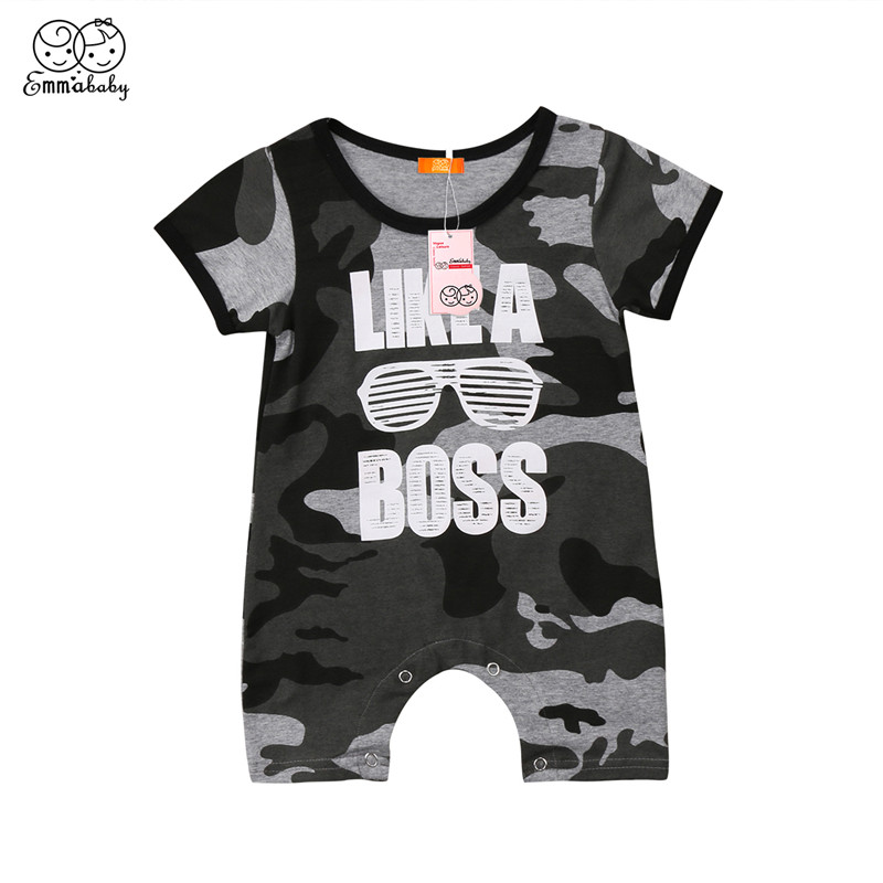 Newborn Baby Girl Boy Romper Bebes Short Sleeve Camo Boss Romper Summer Casual Cotton Jumpsuit Sunsuit 2018 Newest Baby Clothing summer newborn infant baby girl romper short sleeve floral romper jumpsuit outfits sunsuit clothes
