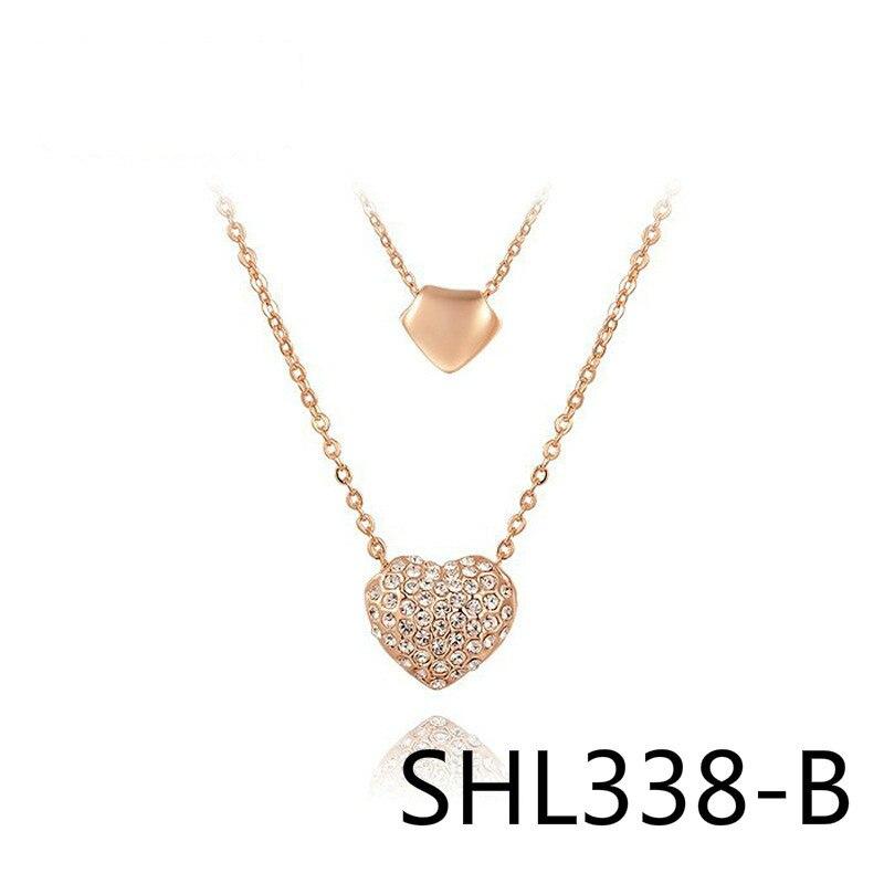 Verkauf Gut Persönlichkeit Halskette Tiefgreifende Rekord Anhänger Doppel-herz Diaozhui Gewinnen Investition Mittel SHL338