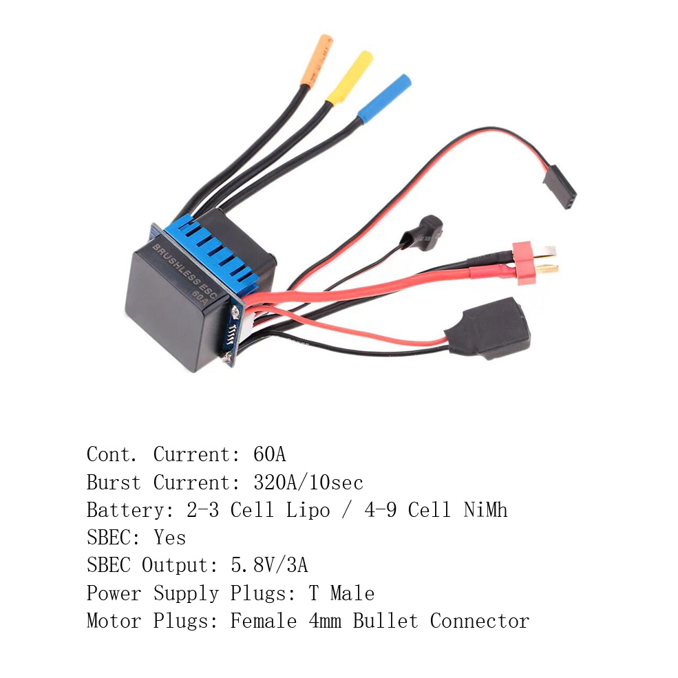 Image 2 - 25A 35A 45A 60A 80A 120A ESC Electric Speed Controller for Traxxas Redcat 1/18 1/16 1/12 1/10 1/8 RC Truck Monster Off road CarParts & Accessories   -