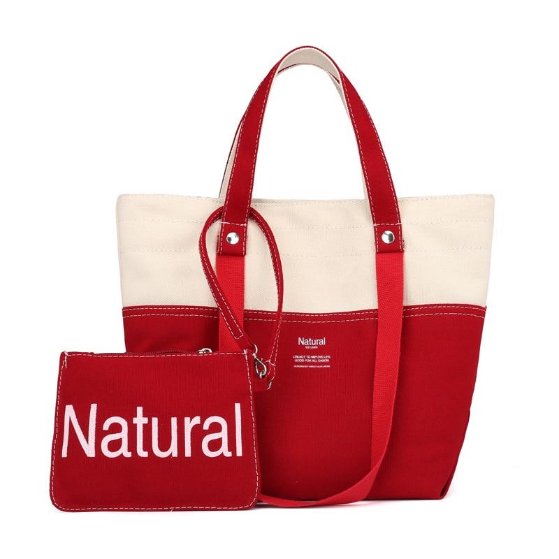 Women's Bag Retro Canvas Bag Two-Piece Mother Canvas Handbag Explosion Models Shoulder Messenger