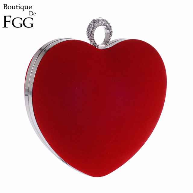 Red Velour Knuckle Box Crystal Finger Rings Women Metal Heart Evening Party Clutches Bag Bridal Wedding Chain Shoulder Handbags