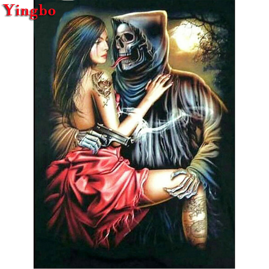 Full SquareRound Drill 5D DIY Diamond Painting Woman and skull head 3D Diamond Embroidery Cross Stitch Home Decor 副本