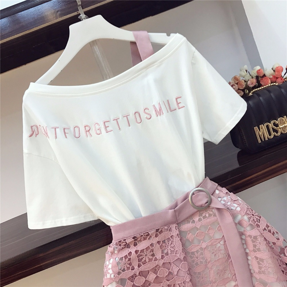 2019 Spring Summer Women Fashion 2 Piece Suit Slash Collar Off Shoulder Long T Shirt & Hollow Out Lace Skirt Suits Skirts Set #5