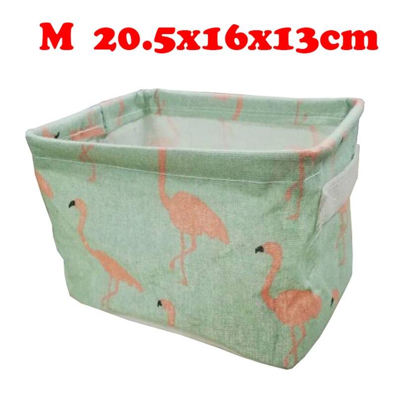 Настольный ящик для хранения с милым принтом, водонепроницаемый органайзер, хлопок, лен, корзина для хранения мелочей, шкаф, нижнее белье, сумка для хранения - Цвет: M
