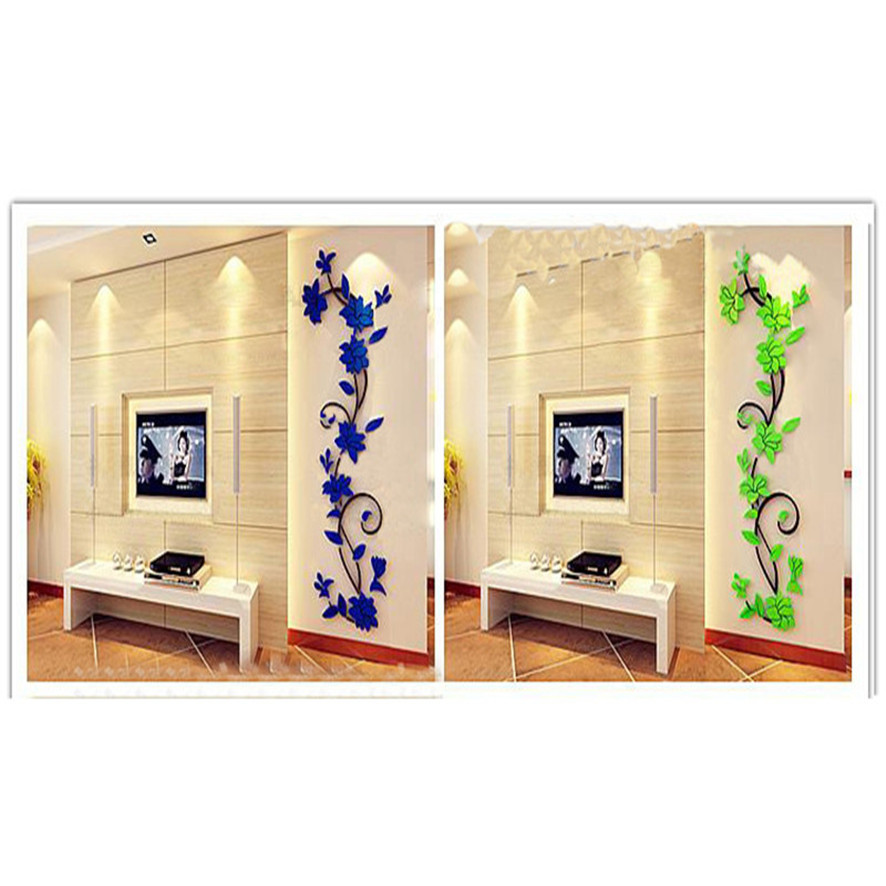 Zero 2017 diy 3d acrylic crystal wall stickers living room - Cheap wall decals for living room ...