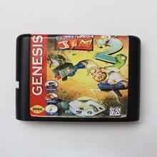 地球ワームジム· 2 16ビットセガmdゲームカード用セガメガドライブジェネシスクーペ用