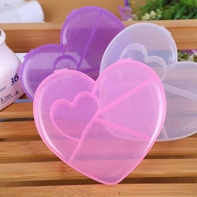 5 grid pink purple white heart shaped pill box case container
