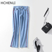HCHENLI Brand Spring Summer Embroidery Flower Women S Blue Jeans Female Pencil Pants Jeans Ladies Mid