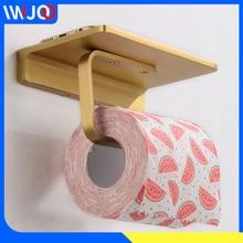 где купить Toilet Paper Holder with Shelf Brass Decorative Paper Towel Holder Wall Mounted Bathroom Tissue Roll Paper Holder Phone Creative по лучшей цене
