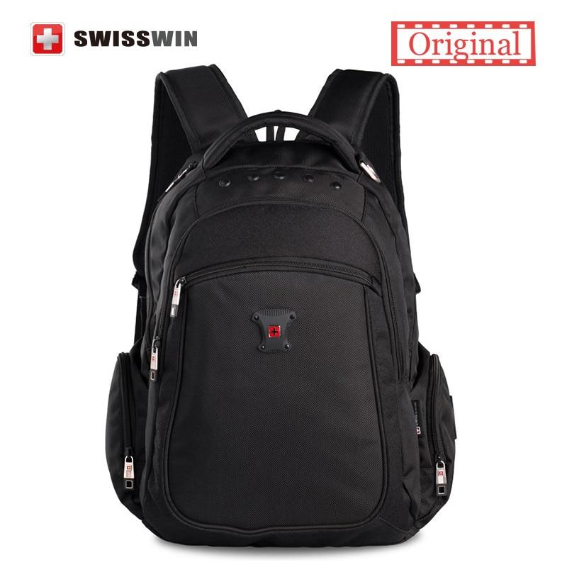 все цены на  Swiss Backpack Youth Swisswin Waterproof Men's Backpack Black Nylon Multi-Pocket Bagpack Sac a dos Brand Back to School Bag  онлайн