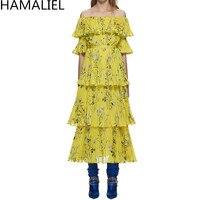 Selbstporträt Sommer Boho Strand Gefaltete Lange Kleid 2018 Runway Frauen Gelb Chiffon Gedruckt Blume Rüschen Schulterfrei Kleid