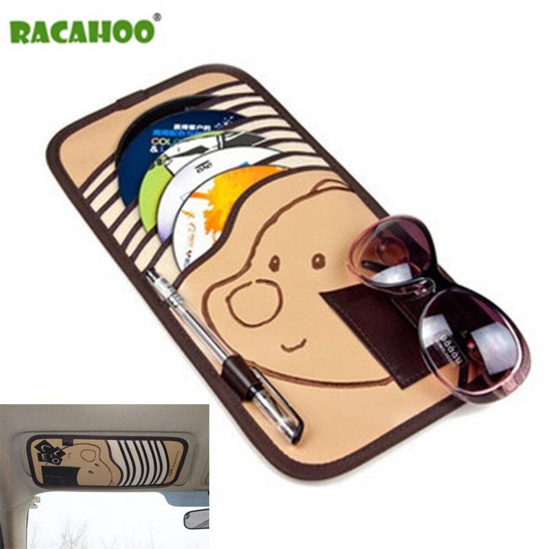 RACAHOO Car Cartoon Multifunction Sun Visor Sets For DVD Case Automotive Supplies Storage Box Holder Car CD Bag Free Shipping