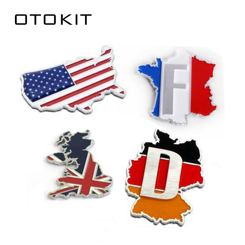 3D Metal France England Germany American Flag Car Sticker Accessories for Ford Focus VW Golf Benz BMW Audi Buick Jeep Dodge germany england
