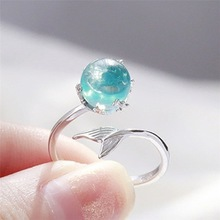 Hot Fashion Mermaid Foam Open Ring Silver Rings with Blue Crystal Bubble for Women Girls Jewelry Gift