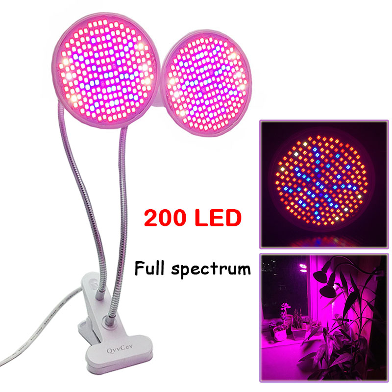 Dual 200 Led Plant Grow Light Bulb Desk Clip Holder Full Spectrum LED Lamp for Plants Vegs Hydroponic System Growing greenhouse 290 led plant grow light e27 200 led growing lights bulb full spectrum indoor plant lamp for plants vegs hydroponic system