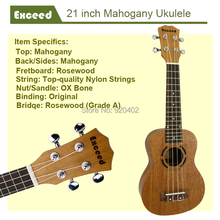 21 zoll Mahagoni Ukulele Akustische Gitarre Sopran Hawaii Ukelele - Musikinstrumente - Foto 2