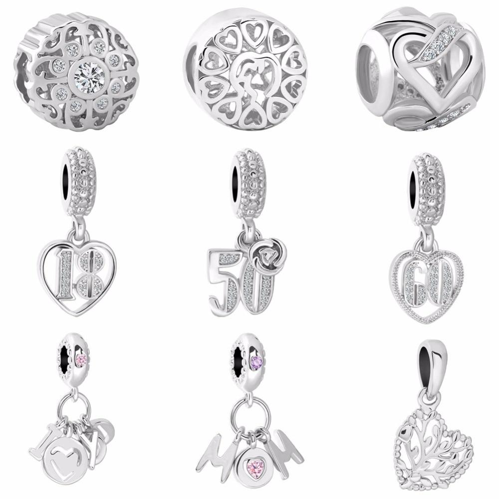2018 new free shipping 1pc silver 18 50 60 years love mom family tree  diy jewelry bead Fit Pandora Charm Bracelet EL035