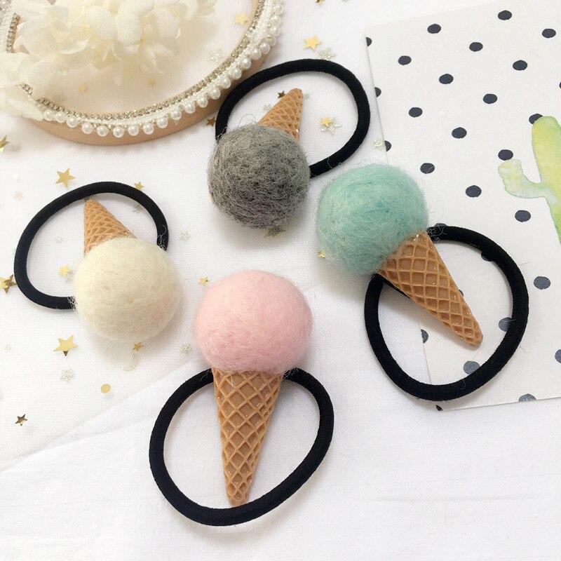 Korea Handmade Cartoon Icecream Children Kids Elastic Hair Bands for Baby Girls Hair Ties Headwear Hair Accessories-SWCEHB028D