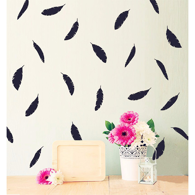 POOMOO Wall Decals 72 Feathers Wall Stickers, Six Sizes And 40 Colors To Choose From. It Can Be Separated From The Layout To Bet