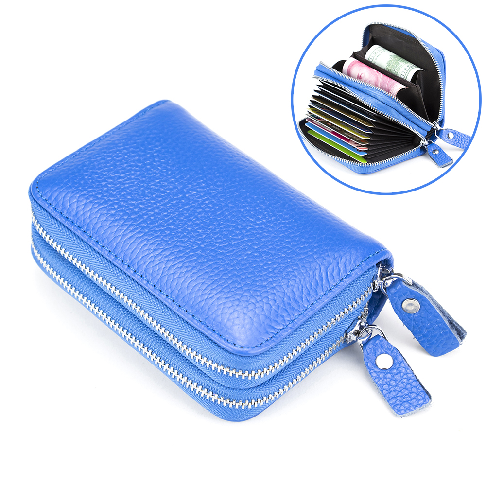 Fashion Blue Card Case Top Grade Leather Card Wallet Women & Men Organ Style Card Bag Double Zipper Hand Card Holders