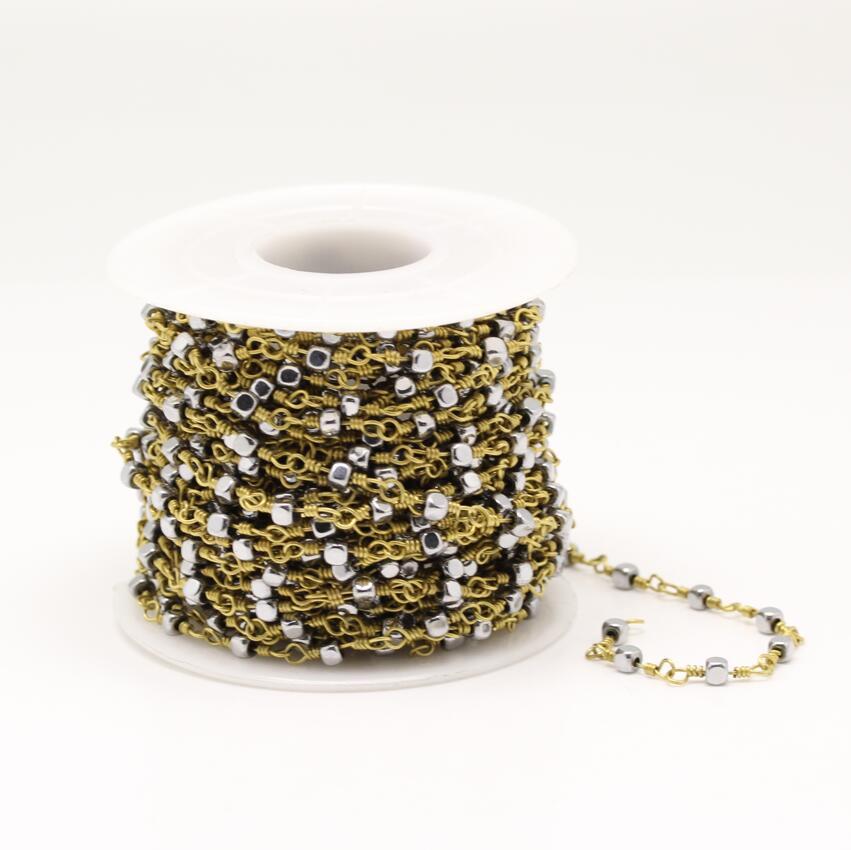 Bijoux en argent plaqué hématite lisse Cube perles, fil enroulé liens dorés perles carrées chaîne collier artisanat, 3mm
