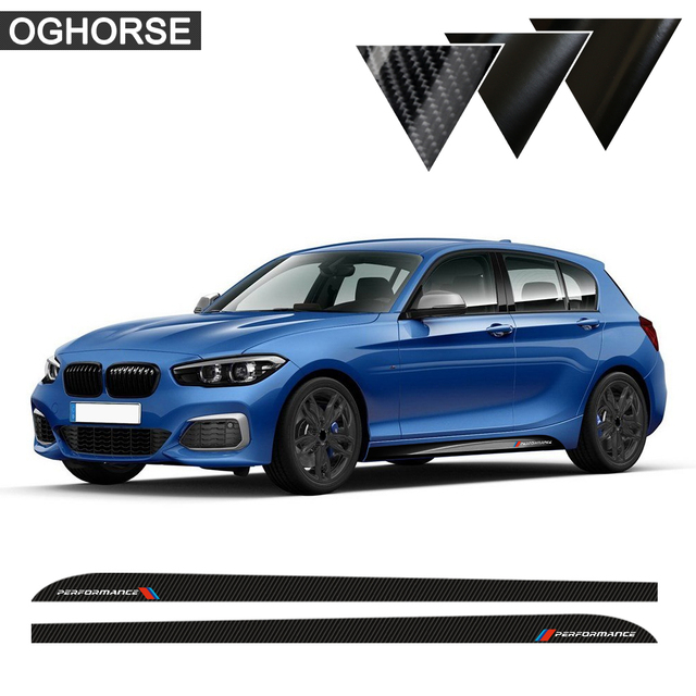 Us 17 55 45 Off 2pcs Side Stripes Sill Skirt Stickers Decal M Performance M Sport For Bmw 1 Series F20 F21 118i 120i 125i 128i 135i Accessories In