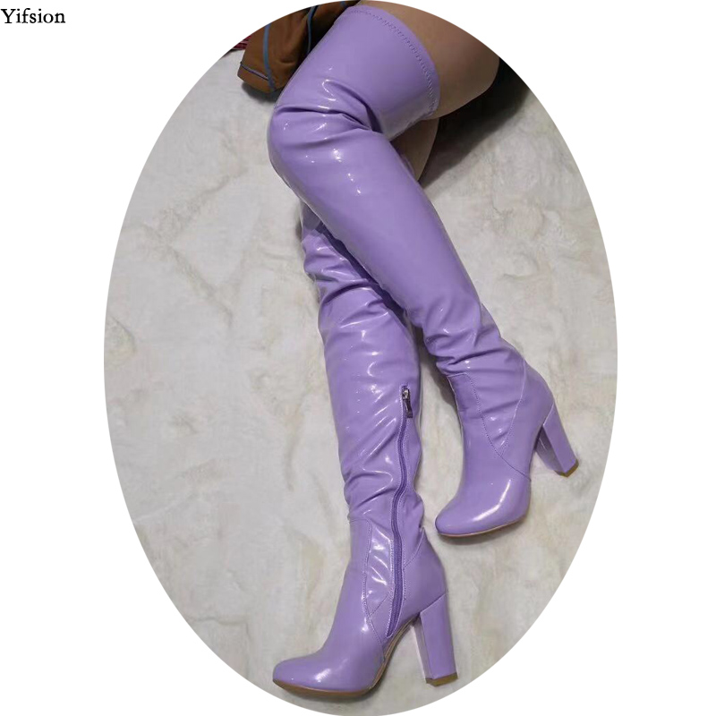 Yifsion Women Winter Over The Knee Boots Square High Heels Boots Nice Round Toe Gorgeous Purple