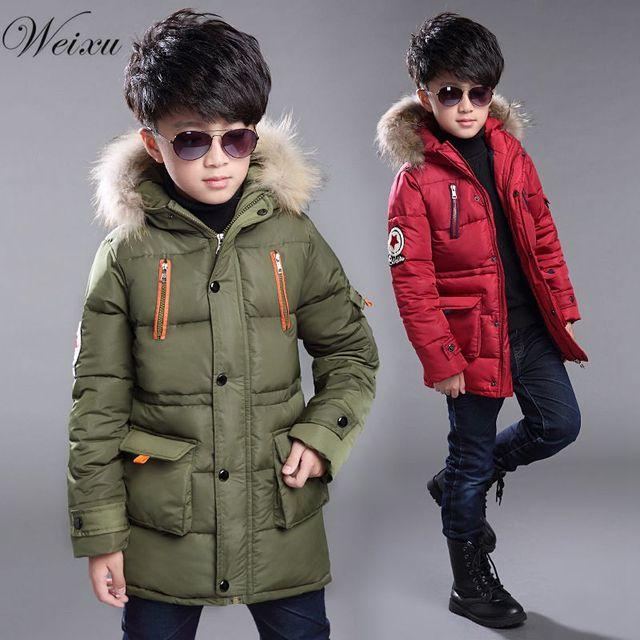 Weixu New Boys Winter Windproof Jackets Fashion Kids Fur Hooded Thick Warm Down Jacket Coats Children boys Long Outerwear Parkas