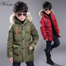 Boys Winter Windproof Jackets Brand Fashion Kids Fur Hooded Thick Warm Down Jacket Coats Children boys Long Outerwear Parkas недорого