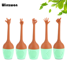 1Pcs Funny Hand Gesture Silicone Tea Infuser Tea Strainer Re