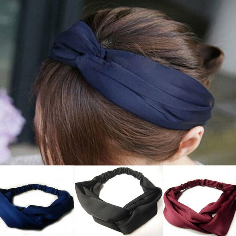Metting Joura Vintage Bohemian Ethnic Solid Satin Fabric Cross Turban Elastic Headband Hair Accessories