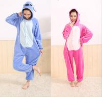 Animal Blue Pink Stitch Onesie Adult Unisex Cosplay Costume Pajamas All In One Party Sleepwear For