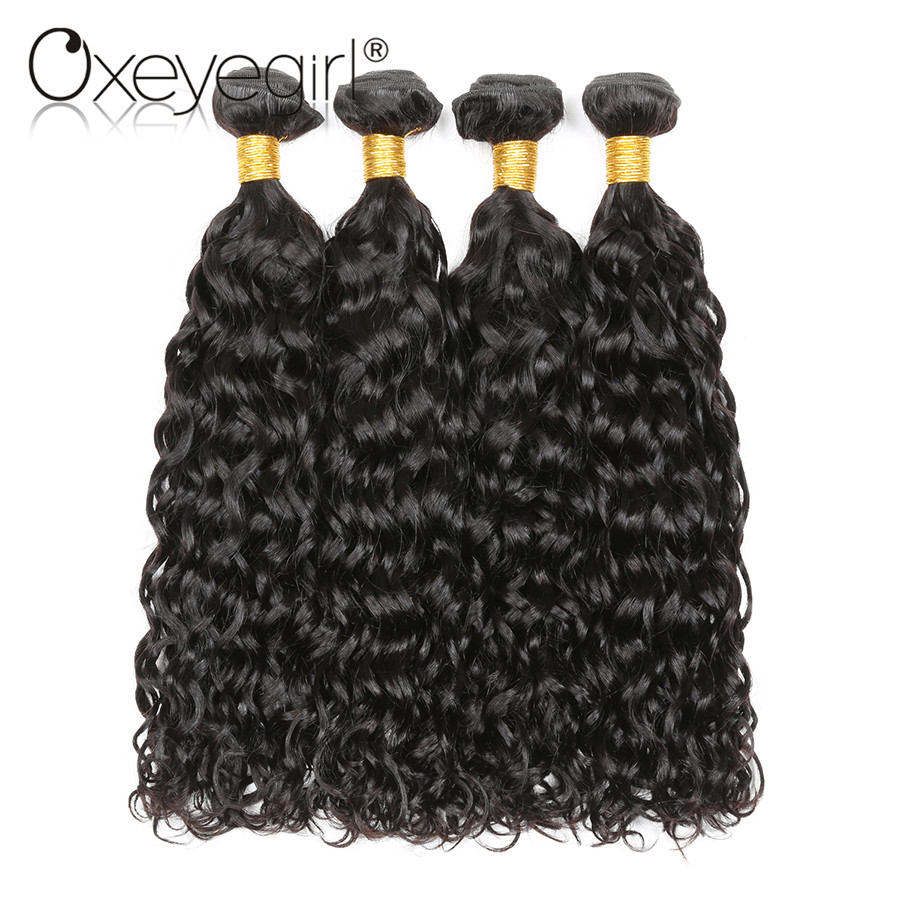 Oxeye girl Water Wave Bundles Peruvian Hair Bundles Natural Color None Remy Human Hair Extensions 4 Bundle Deals Mixed Length