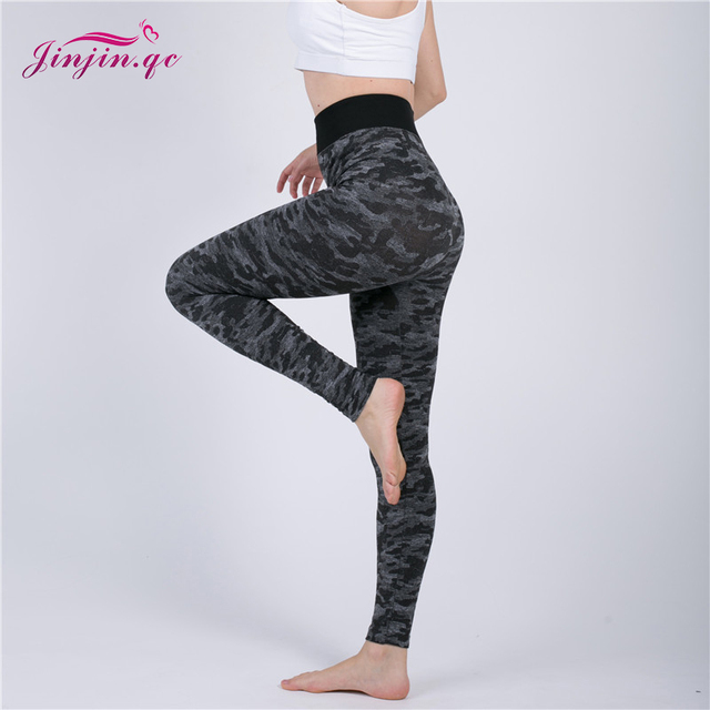 Jinjin.QC Camouflage Printing Elasticity Leggings Camouflage Fitness Pant Legins Casual Legging For Women Push Up Leggins