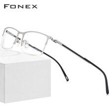 FONEX סגסוגת משקפיים מסגרת גברים קל במיוחד חצי כיכר קוצר ראיה מרשם משקפיים 2019 חדש אופטי מסגרות ללא בורג Eyewear