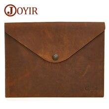JOYIR Genuine Leather Document Bag A4 Ipad Solid Vintage Hasp Handbag Clutch Envelope For Men Male 2017 New 2058
