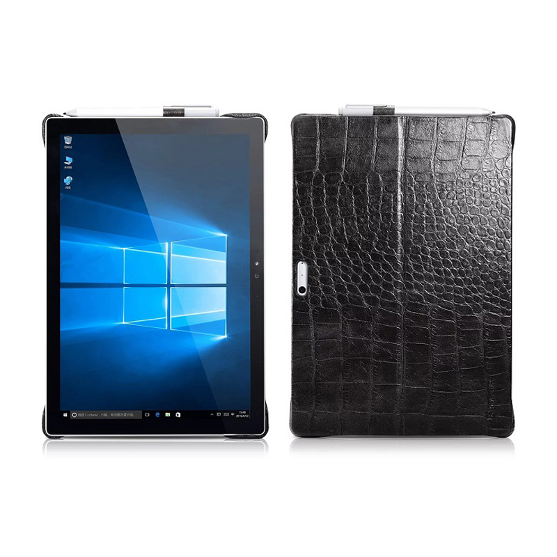 12.3 Genuine Leather Crocodile Cowhide Case for Microsoft Surface Pro 4 Business Stand Smart Cover for Surface Pro 4 Sleeve genuine crocodile leather wallet stand case for iphone 6s 6 4 7 inch brown