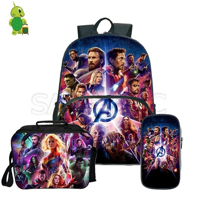 2019 Avengers Endgame Superhero Backpack Pencil Case Lunch Backpack 3Pcs/Sets Kids School Backpack for Women Men Backpack2019 Avengers Endgame Superhero Backpack Pencil Case Lunch Backpack 3Pcs/Sets Kids School Backpack for Women Men Backpack