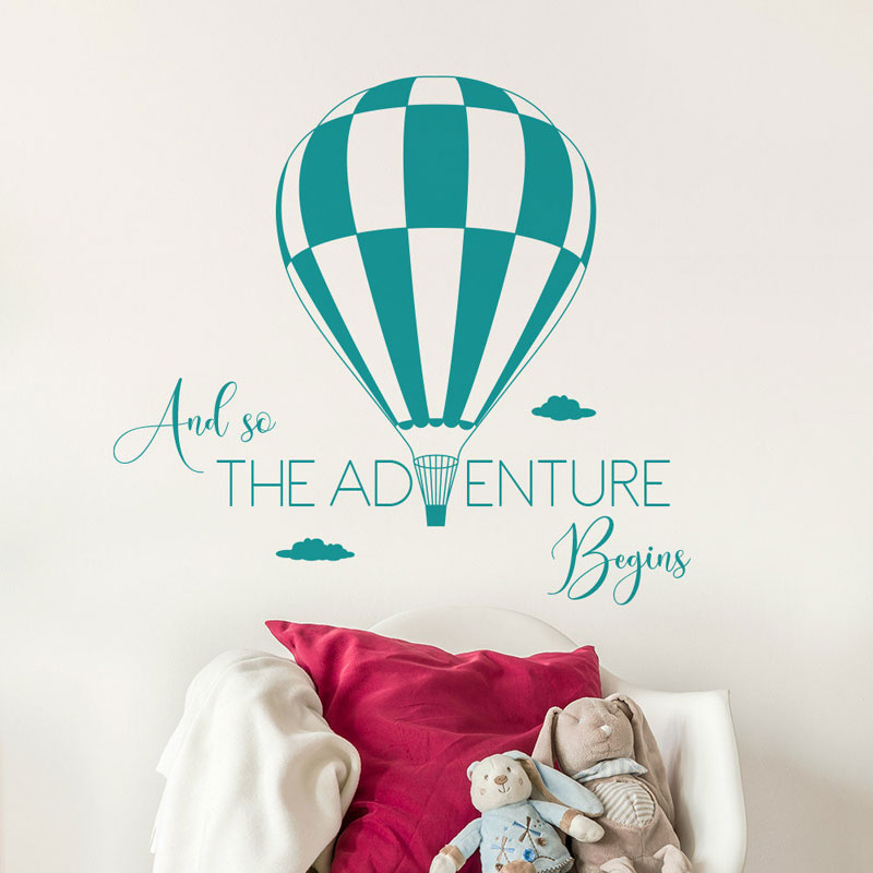 And So The Adventure Begins Inspirational Quote Wall Sticker Hot Air