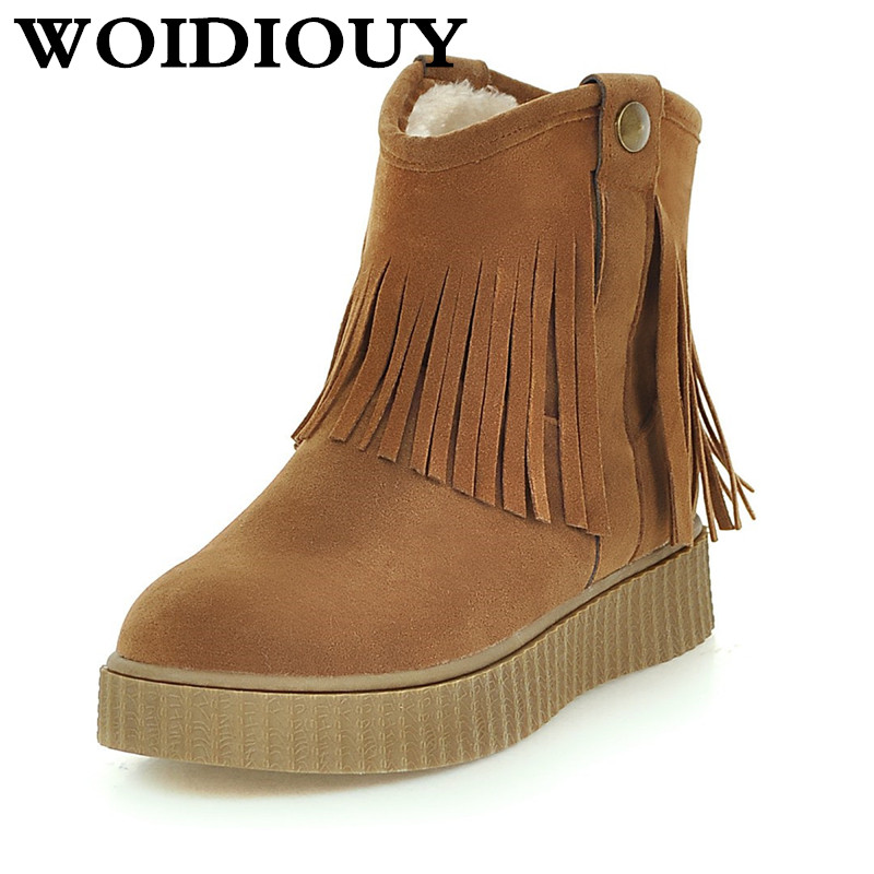 Beige Brown Black Large Size Solid Color Warm Fur Lining Winter Ankle Boots Non-slip Wear Flat Shoes Beige, Brown, Black
