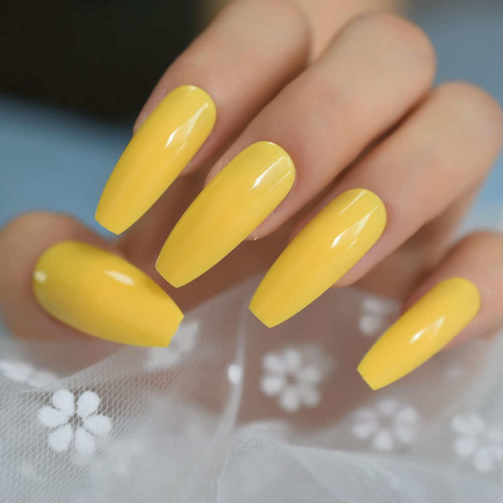 Neon Bright Leon Yellow Press On False Nails Extra Long Coffin Ballerina Shape UV Gel Glue On Fingersnails Free Adhesive Tapes