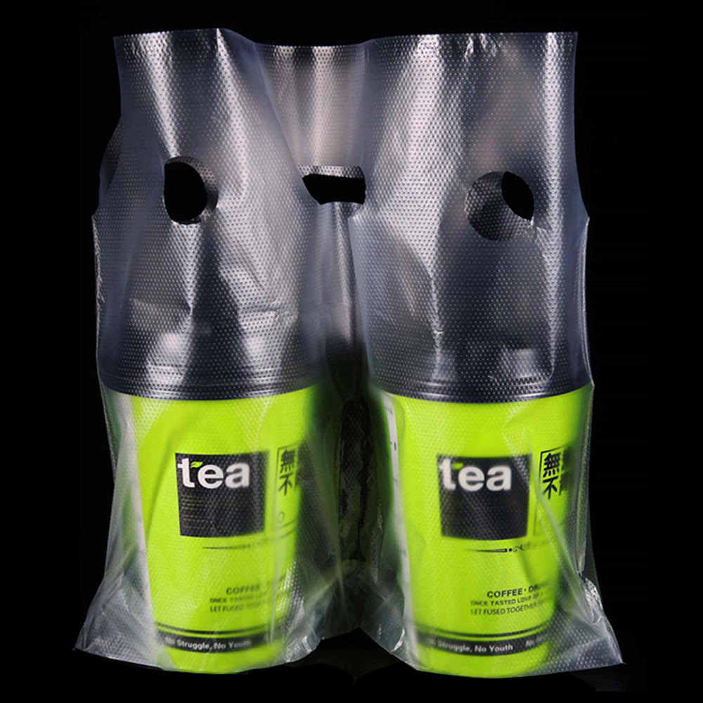 200Pcs 2 Styles Clear Beverage Take Out Packaging Bag with Handle One/Two Cup Juice Drinking Bottle Carrier Packing Bags