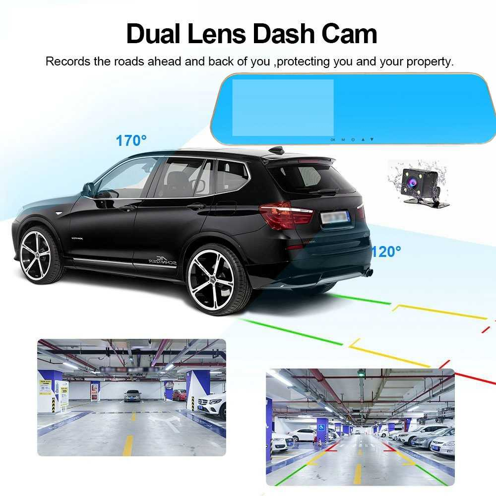 HGDO Full HD 1080P Car Dvrs Rear View Mirror With Dual Lens Camera Night Vision Dash Cam dvr Digital Video Recorder DVR